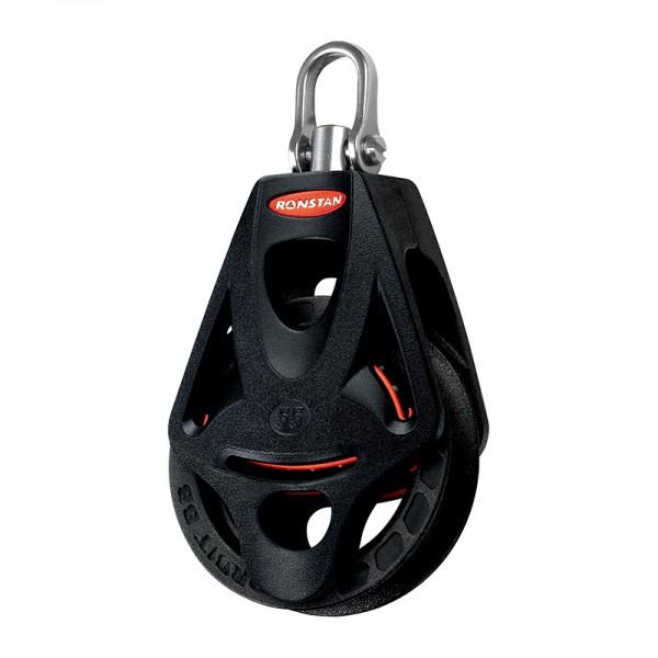 Ronstan Serie 55 BB Orbit Block™, einscheibig mit Hundsfott, Wirbelschäkeltop